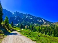 Wilder Kaiser mountains near Scheffau, Tyrol, Austria (UweBKK (α 77 on )) Tags: wilder kaiser mountain alps scheffau kufstein path hike trail road trees forest sky blue green tyrol tirol austria österreich europe europa iphone