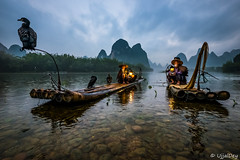 Cormorant fishermen  ~ EXPLORED #279 (15-May-2018) (ujjal dey) Tags: ujjal ujjaldey guilin yangshuo china travel traveler fishermen cormorant landscape mountain river reflection dailylife evening fall dusk krast fujifilm xe2s