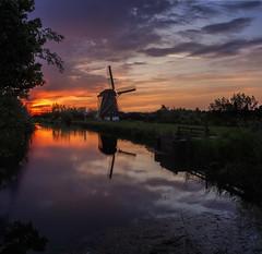 Dutch Nocturne 9 (Melnikovi) Tags: naardermrer windmill holland nederland polder naarden molen sunset reflection