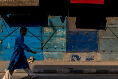 Variations of Blue with some Red-DSC_2370 (thomschphotography3) Tags: kolkata india asia blue red colours colourful man dog walking streetphotography light shadow
