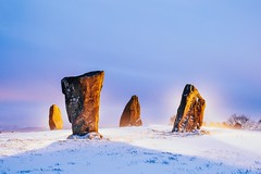 The Glowing stones (J C Mills Photography) Tags: peak district derbyshire winter snow stone circle light painting