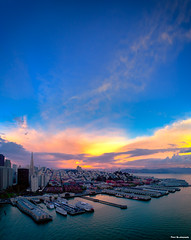 San Francisco Sunrise Colors (davidyuweb) Tags: san francisco sunrise colors sanfrancisco coittower transamerica luckysnapshot pier 7 goldengatebridge