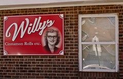 WILLY'S CINNAMON ROLLS (NC Cigany) Tags: red willy cinnamon buns sign bricks window portrait pittsboro north carolina nc bakery story