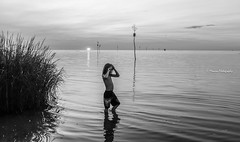 The tide. (Monica@Boston) Tags: coast capecod sun sunset water outdoors kid people tide ocean monochrome blackandwhite