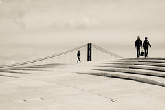 A bridge too far (The Green Album) Tags: river tagus maat lisbon portugal extension viewing platform modern contemporary architecture people bridge minimalist fujifilm xt2 walking high