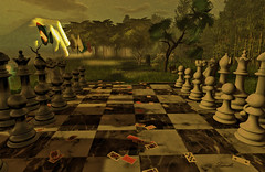 The last game (Milla DelRay) Tags: chess chessboard landscape nature trees butterfly texturized card cards hand game butterflies sl secondlife cake landscapes tree insect insects