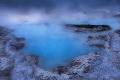 invitation to the Saga world (yan08865) Tags: water geyser landscape snow iceland blue sky pavlis nature geothermal rocks lagoon flowing earth mood photographers nordic colors river mountain