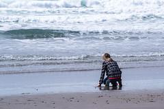 Sea Salutation (LadyBMerritt) Tags: beach sand water girl play nature oregon coastal