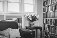 Timeless Knowledge (The Shutter Affair) Tags: books library read nook blackandwhite blackandwhitephotography juliathomasphotography knowledge flowers chair sit