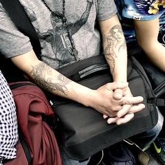 Apr 30 / Ink (Josh Thompson) Tags: galaxys8 redline cta candid tattoos arms cross crucifix