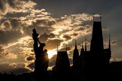Prague - Golden City of a Thousand Spires (hjuengst) Tags: prag prague goldencity goldenestadt spires türme gegenlicht backlight sunset sonnenuntergang charlesbridge karlsbrücke czechrepublic tschechien unescoworldheritage clouds wolken