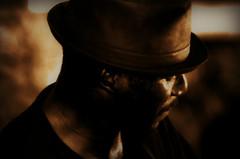 "Bluesman Anthony ""Big A"" Sherrod -- Juke Joint Festival, Clarksdale (forestforthetress) Tags: anthonybigasherrod biga sherrod blues bluesman bluesmusic jukejoint jukejointfestival clarksdale mississippi google flickr monochrome face man hat music musician portrait"