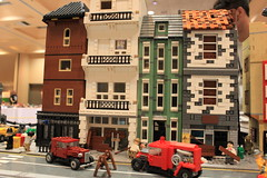 Battle of Britain (tyfighter07) Tags: lego wwii ww2 world war two worldwartwo worldwar britain battleofbritain battle 1940 europe air airplane attack dogfight planes plane german fire firehydrant fireman firetruck truck car bus cars road tube station building buildings street citystreet church damaged pub london sky spitfire mkvcsupermarinespitfire bf109 messerschmitt londonbus wars british bbtb bbtb2017 2017 moc military minifigs minifigures raf royal airforce luftwaffe smoke burning bombed bomb bricks by bay bricksbythebay brickbuilder7