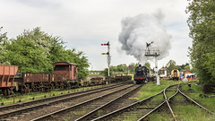 Leaving Quorn (4486Merlin) Tags: 73156 78018 brstd2mt260 brstd5mt460 countries england europe exbr greatcentralrailway heritagerailways midlands places railways steam transport unitedkingdom quornwoodhousestation leicestershire gbr goodsgaloregala doubleheader signals