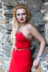 Red dress (piotr_szymanek) Tags: sonia soniaw portrait outdoor woman milf young skinny blonde face eyesoncamera red dress hand castle rock czocha