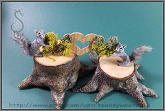 Beach Bums (Teensyweensybaby) Tags: ooak miniature miniatureanimals oneinchscale animal chihuahua seagull squirrel gray happy mothers day