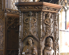 Trull, Somerset, All Saints', pulpit, detail (groenling) Tags: trull somerset england britain greatbritain uk gb allsaints pulpit wood carving woodcarving saint john evangelist chalice serpent snake doctor doctorecclesiae gregory gregorius pope tiara