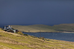 Cottage (Joost10000) Tags: grass sky storm landscape house water bay mountain sea ocean atlantic shetland scotland uk unitedkingdom europe cottage landschaft britain greatbritain canon seascape canon5d eos scenic outdoors