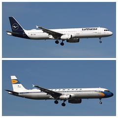 Lufthansa new Design vs. Retro Design (Norbert.Schmidt) Tags: lufthansa airbus a321 retrodesign newdesign hamburgairport kranich