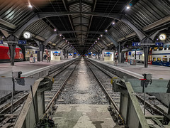 Take the A-Train (cs_one) Tags: hall night nightphotography sbb streetphotography switzerland symmetry tracks trainstation vanishingpoint zürich