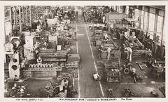 Machineshop, Port Augusta Railway Workshops, S.A. - circa 1930 (Aussie~mobs) Tags: vintage southaustralia transaustralianrailways portaugustawookshops railwayworkshops interior machineshop staff industry portaugusta factory