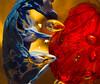 #118 blue & red (tokyobogue) Tags: tokyo japan ukimafunado nikon nikond7100 d7100 tokina tokina100mmf28atxprod glass paperweight blue red swirl bubbles ornament 365project colours
