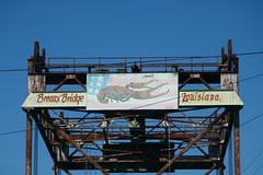 Crawfish mural atop the rusting bridge in Breaux Bridge, Louisiana (Monceau) Tags: crawfish mural rusting breauxbridge louisiana bridge