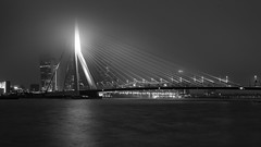 Artania (frank_w_aus_l) Tags: brücke nebel rotterdam bw sw monochrome schiff boat bridge erasmus skyline dark light reflection water smooth lamp city cityscape netherlands europe zuidholland niederlande nl