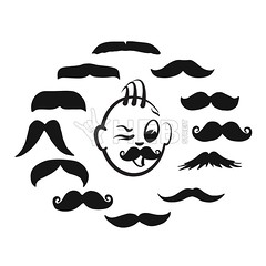 Set of barber shop mustache icons (Hebstreits) Tags: antique background badge barber barbershop beard business classic collection cut design elegant element emblem fashion gentleman graphic grooming hair haircut hairdresser hairstyle hipster icon illustration isolated label logo man moustache mustache old pole razor retro salon saloon scissors set shave shop sign silhouette stamp style symbol template typography vector vintage