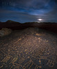 Rock of Ages (mikeSF_) Tags: california nevada petroglyphs petroglyph skyrock bishop volcanictablelands tablelands mikeoria pentax dfa25 25mm wide night longexposure moon clouds sky ancient stone rock