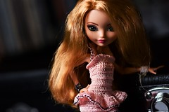 reach out and touch me (jessandgrace) Tags: doll portrait colorimage colors crochet apricotcolored dress handmade dollclothes figure face eyes greeneyed hair bighair ginger blonde golden ashlynnella everafterhigh eah pretty beauty glamour cute indoor