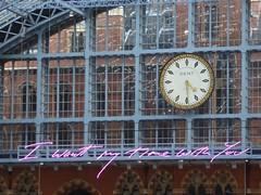 I want my time with you (JuliaC2006) Tags: stpancras station london clock art handwriting neon