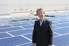 Senator Laine at the Rooftop Solar Panels