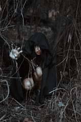 In the woods (Kathy Chareun) Tags: art arte fineart ps photoshop lr lightroom wood madera tree arbol woman mujer femme girl chica negro noir forest bosque hand mano day dia lips labios dark witch bruja darkness oscuro oscuridad magic magia skin piel portrait retrato eye ojo