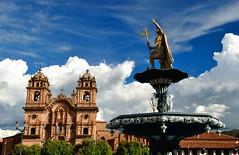 Cuzco (makingacross) Tags: cuzco cusco peru inca empire qusqu plaza de armas iglesia la compañía jesús iglesiadelacompañíadejesús clouds statue