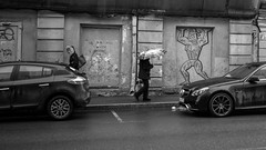 Moscow (morten f) Tags: moskva moscou russland moscow russia street photography art people monochrome cars rain umbrella