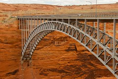 Glen Canyon Bridge (Karen_Chappell) Tags: travel arizona usa bridge architecture steel metal desert orange rocks stone transportation cars road arch page glencanyon