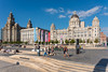 Pier Head, Liverpool and the three listed buildings - Royal Liver Building, Cunard Building, Port of Liverpool Building (Dave Wood Liverpool Images) Tags: liverpool architecture tourism threegraces