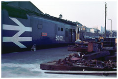 50021  Penzance  19-07-84 (Gray Callaway) Tags: class50 50021 penzance stabled largelogo 1984