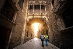 Bridge between buildings in Barri Gotic quarter of Barcelona (anekphoto) Tags: barcelona gothic quarter old barri gotic bisbe street travel city spain architecture bridge medieval town carrer del culture outdoors building tourism ancient urban stone europe history european exterior destination facade catalonia architectural vintage landmark window historical arches bari neogotic art people yellow day traditional horizontal church motion vertical night balcony