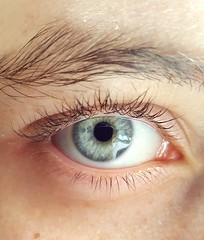 Ever feel like you're being watched? (Bloopoop) Tags: eye blueeyes closeup photo picture amateur detail colour blue face intense view deep depth green