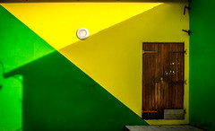 In green and yellow (Franck_Michel) Tags: green yallow house shadow root door wood corssing lines