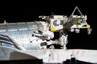 Jack Fischer on his first spacewalk, the 200th ISS spacewalk