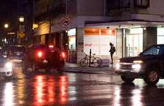 Red on black once more / Rouge sur noir de nouveau (Jacques Lebleu) Tags: night reflection red traffic light bicycle cyclist cars shop