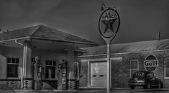 Restored Station (Tim @ Photovisions) Tags: gas car kansas station gasstation texaco gulf sign pumps gaspumps vintage monochrome blackandwhite