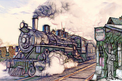 Steam Train (Mike Pesseackey (UAGUY1)) Tags: trains vintage art digitalart layers steamtrains photoshop nikon transportation yesteryear old depots digital graphic