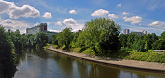Salford University from the Irwell Aug 16 (daveconnor42) Tags: irwell university salford panorama sky tree water peel park campus