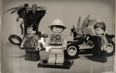 A Paleontological Research Expedition from 'Back in the Day' (N.the.Kudzu) Tags: tabletop lego minifigures paleontologist bw sepia primelens manualfocus canondslr lensbabyburnside35 dxoopticspro11
