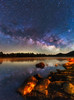 Cosmic Reflection (muhammad_elarbi) Tags: milkyway astrophotography galactic galaxy milkywaygalaxy astronomy astro sky light dark blue green orange red purple magenta foreground rocks grass water laker lake longexposure exposure ref reflection canon photography beautiful creative colors colorful stars star detail