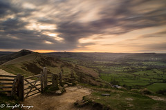 The Great Ridge at Sunrise (Twiglet Images) Tags: road landscape mam tor peak district gate ridge great sky cloud drag fence barbed wire nikon benro d600 long exposure le sunrise path rock paved stone